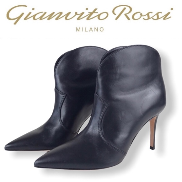 🆕 Gianvito Rossi Black Leather Boots Booties 36.5